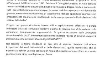 """Mozione """"Giorno del Ricordo"""", nota dei consiglieri comunali"""