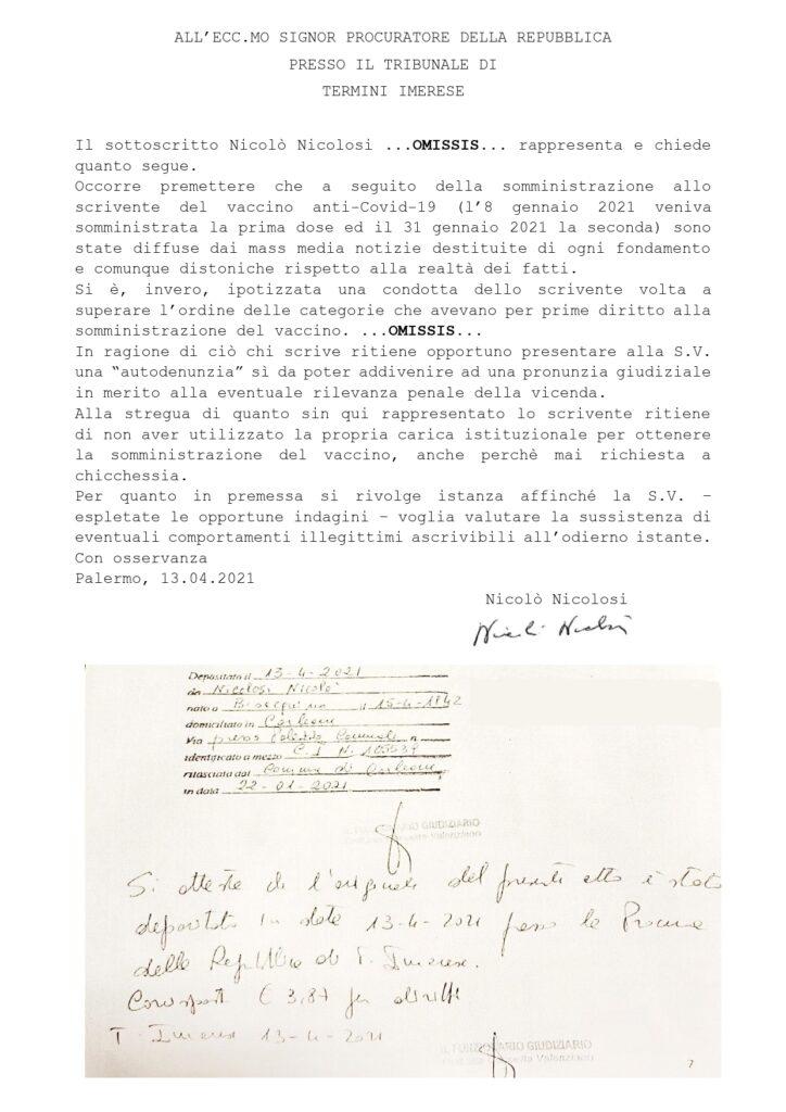 Vaccini, l'autodenuncia del sindaco Nicolosi